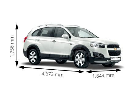 Medidas Chevrolet Captiva: longitud, anchura, altura y ...