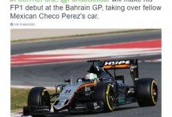 Alfonso Celis Jr. debutará con Force India en Bahrein
