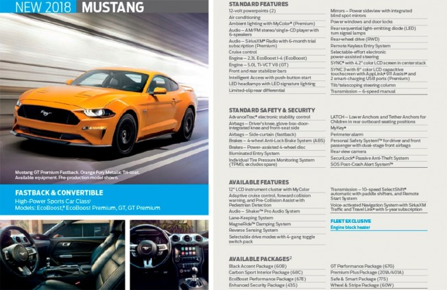 Ford Mustang 2018 - folleto
