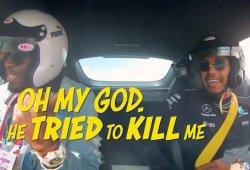 """[Vídeo] Hamilton le da el susto de su vida a Usain Bolt: """"¡Ha intentado matarme!"""""""