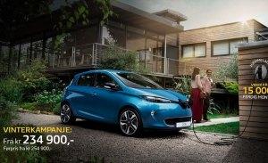 Noruega - Enero 2018: El Renault Zoe viene con el wallbox debajo del brazo