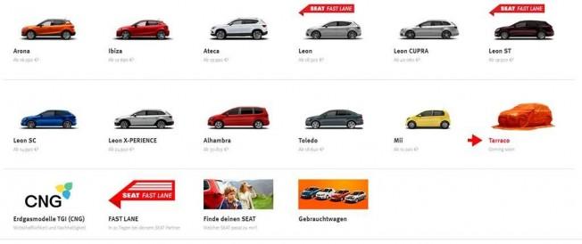 SEAT Tarraco en la web alemana