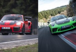 "Porsche 911 GT3 RS frente al 911 GT2 RS MR ""Record Car"" en Nürburgring"